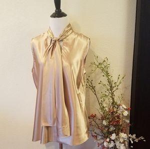 Anne Klein Gold Sleeveless Tie- Neck Medium